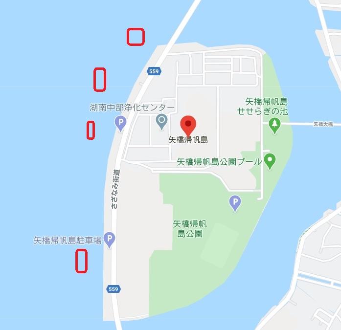 琵琶湖の矢橋帰帆島周辺ハードボトムとウィードエッジ