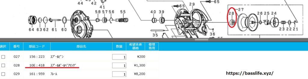 21アルファス SV TWパーツリスト、スプールベアリング部品コード